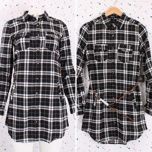 Dresses & Skirts - Plaid Button Up Shirt Dress with Belt Blk/Wht